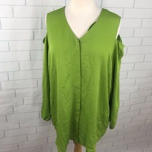 New Chico's cold shoulder blouse green 3 16 XL